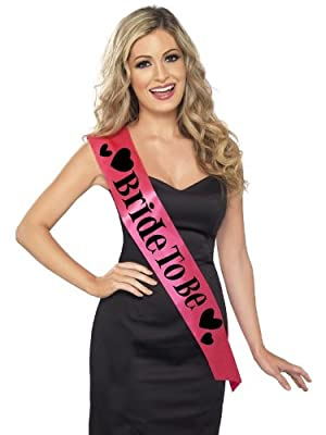 Smiffy's Bride To Be Sash Lettering - Pink/ Black
