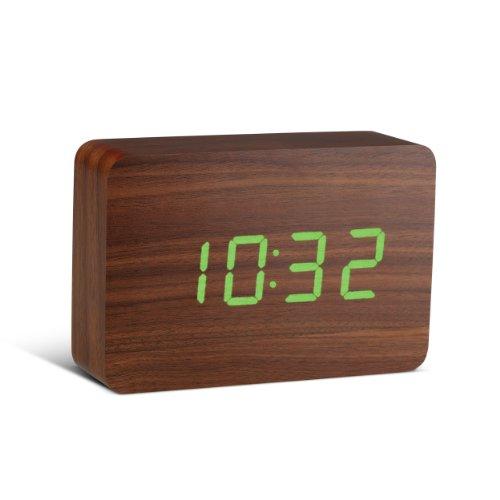 Gingko GK15G8 Digitaluhr 'Click Clock' Ziegelsteinform, Walnuss mit grüner LED-Anzeige