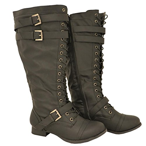 Twisted Women'S Trooper Wide Width/Wide Calf Faux Leather Knee-High Lace-Up Western Flat Riding Boot With Buckles - Black, Size 10