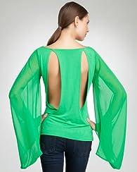 Sheer Chiffon Kimono Sleeve Top