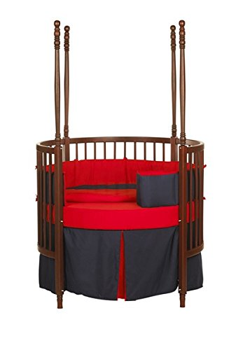 Baby Doll Solid Reversible Round Crib Bedding Set, Navy/ Red