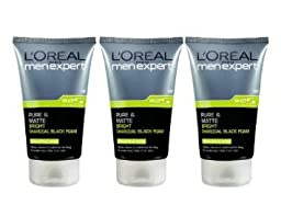 New L\'oreal Men Expert Pure & Matte Bright Charcoal Black Foam (100ml) Pack 3