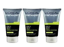 New L\'oreal Men Expert Pure & Matte Bright Charcoal Black Foam (100ml) Pack 3