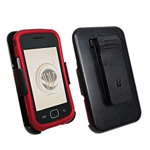 Beyond 3-In-1 Combo Kit Snap-On Cover, Holster and Screen Guard Package for Samsung Repp U.S. Cellular SCH-R680 - Non-Retail Packaging - Red