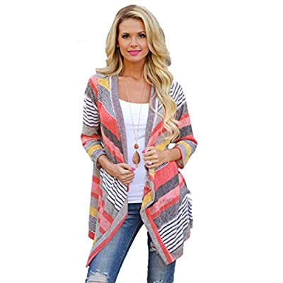 Coromose Women Irregular Stripe Shawl Kimono Cardigan Tops Cover Up Blouse