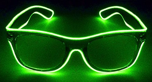 JEBSENS - Light Up El Wire Sunglasses Black Frame with Clear Lens (Lime Green)