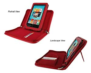 rooCASE Executive Leather Portfolio (Red) Case Cover with Landscape / Portrait View for Barnes and Noble NOOK Tablet / NOOKcolor Nook Color eBook Reader (NOT Compatible with NOOK HD)