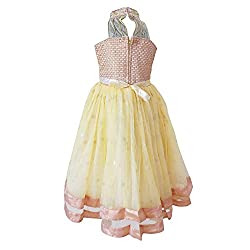 Chokree Yellow Color Party Wear Dress/Frock for girl