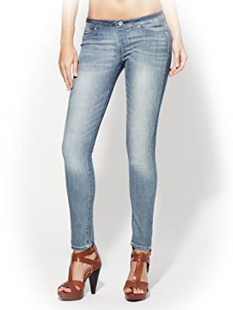 G by GUESS Women's Pull-On Super Skinny Jeans, LIGHT WASH (LARGE)