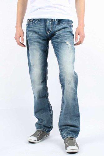 Rock Revival - Mens Richie Straight Leg Denim Jeans in Color: T2, Size: 34, Color: Denim