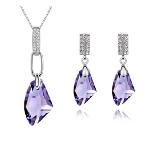 Mondaynoon Swarovski Elements Austrian Crystal Jewelry Sets Necklace And Earring Moon Breeze (Purple) Picture