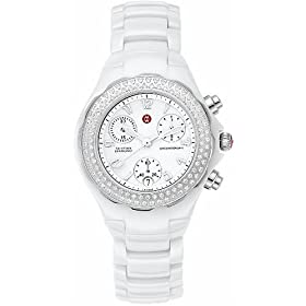 Michele Tahitian Ceramic White Diamond Ladies Watch MWW12A000001