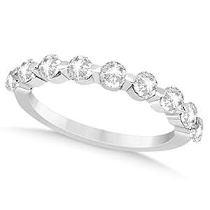 Allurez Women's Side Stone Accented Round Diamond Wedding Band in Platinum (0.9ct) 11.75