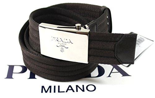 Prada Nastro Sport 1 Web Logo Plaque Belt, Dark Brown Size 32-34 (85) 2C2386