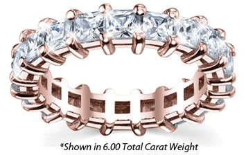 Women's Diamond Eternity Band Princess Cut Shared Prong - Includes Appraisal / Certificate of Authenticity - ( 6.00 Total Carat Weight | GH-I1 Quality | 18k Rose Gold ) Finger Size - 5.75