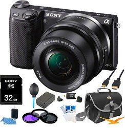 41r2yufEGuL Sony NEX 5TL/B NEX5TL NEX5T NEX5 Compact Interchangeable Lens Digital Camera with 16 50mm Power Zoom Lens ULTIMATE BUNDLE with 32GB High Speed Card, Spare Battery, Deluxe Filter Kit, Mini HDMI cable, SD card reader, Padded case + More!