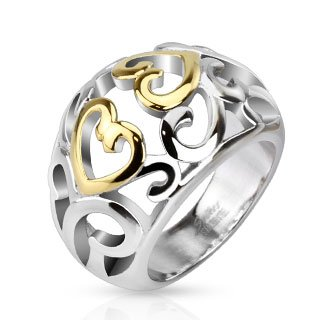STR-0049 Stainless Steel Two Tone IP Vintage Heart Swirls Frontal Ring; Comes With Free Gift Box (8) (Two Tone Heart Ring compare prices)