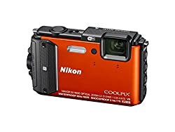Nikon Coolpix Aw130 16MP Point And Shoot Digital Camera with 5x Optical Zoom (Orange)