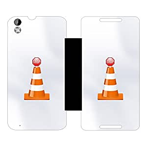 Skintice Designer Flip Cover with hi-res printed Vinyl sticker wrap-around for HTC Desire 816