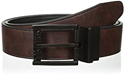 Kenneth Cole REACTION Men\'s Reversible Belt with Stitch Edge and Black Matte Buckle, Brown/Black, 38