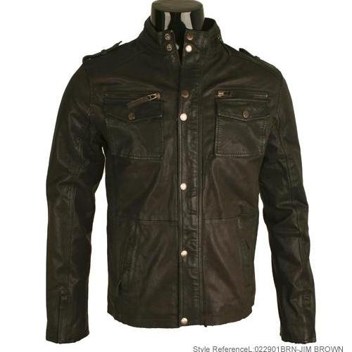 Mens Brown Washed Real Leather Military Jacket L1T Size Small
