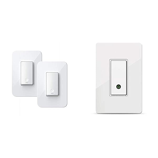 Wemo Wi-Fi Light Switch 3-Way 2-Pack Bundle - Control Lighting from Anywhere (WLS0403-BDL) & Light Switch, WiFi Enabled, Works with Alexa and The Google Assistant (F7C030fc)
