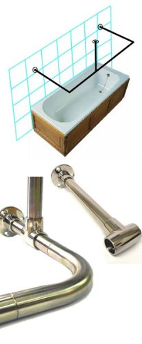 Byretech C Shape - shower Rail Kit SRSS05