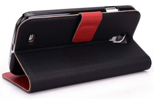 Red / Black Epi Leather like SView Case Slim Cover with Kickstand for Samsung Galaxy S4 i9500 (AT&T US Cellular Sprint TMobile Verizon)   EnvyDeal Velcro Cable Tie // Multiple Colors Available!! Picture