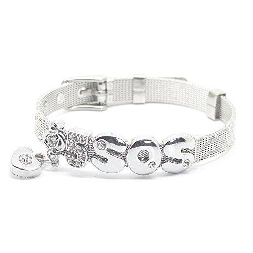 Fanstown Luke Calum accessories handmade titanium letter diamond heart wristband bracelet (5sos Merchandise For Girls compare prices)
