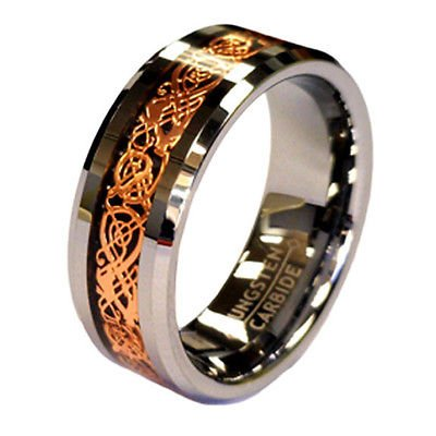 Rose Gold Celtic Dragon 8mm Tungsten Unisex Wedding Band Ring CJTU534-7
