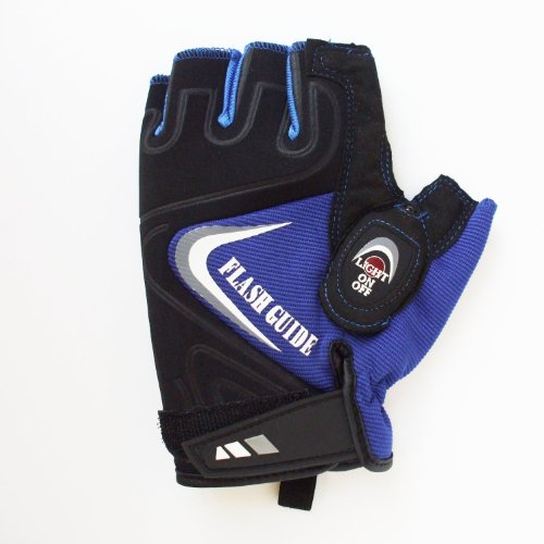 RIKIMATE 《FLASH GUIDE2》 ライト付き手袋【指切り】 ブルーM