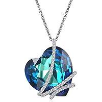 Caperci 18'' Sterling Silver Swarovski Heart Crystal Pendant Necklace