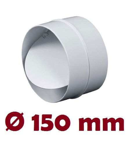 MKK-SHOP Verbindungsstück mit Rückstauklappe Verbinder Lüftungsrohr Rundkanal Rohr Ø 150 mm Lüftungsanlage Kanal K0150 22