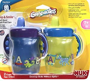 Sip and Smile Spill Proof Cup 2 Handle Cup Design, 7 Ounce, 2 Pack, Colors May Vary