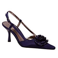 Wild Rose Pointy Toe Sling-back Ankle Buckle Navy Blue Satin Dress Shoes Ice-104 (5.5)