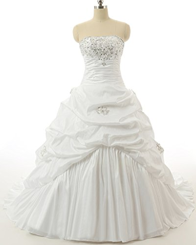 4b5667e43360 Vantexi Women's Strapless A-line Wedding Dress Bridal Gown Ivory Size 30