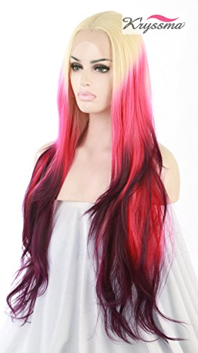K'ryssma Halloween Ombre Synthetic Lace Front Wigs 4 Tone Colors Blonde & Pink & Red & Burgundy For Women Half Hand Tied Layered Glueless Full Wig Heat Friendly For Christmas 24 Inch (Ch Red Women compare prices)