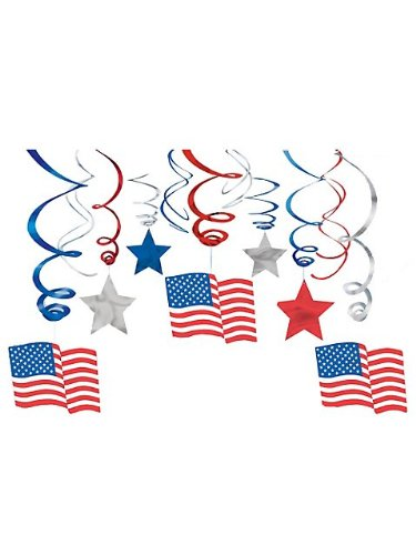 Patriotic Swirls Hanging Decorations - 30 Per Unit (Afghan Bush Knife compare prices)