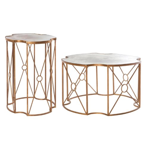 Marlene Hollywood Regency Antique Gold Mirrored Coffee And Side Table - Set Of 2 front-333444