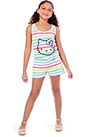 Hello Kitty Pure Cotton Striped Playsuit