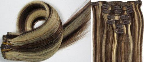 Clip-In-Extensions für komplette Haarverlängerung - hochwertiges Remy-Echthaar - 70g - 38 cm -7tlg- Nr.4/613 mischen