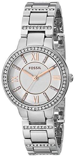 Orologio Donna Quarzo Fossil display Analogico cinturino Acciaio inossidabile Argento e quadrante Bianco  ES3741