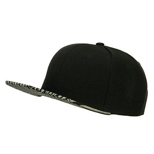 [Ethnic Flat Bill Snapback Cap - Black OSFM] (Ethnic Hats)