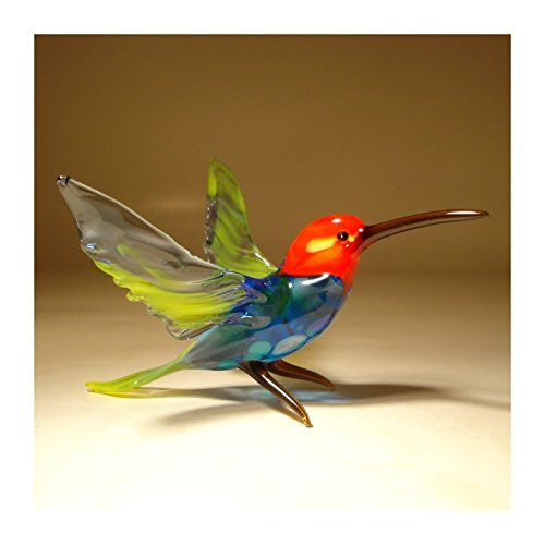 Glass Blue Hummingbird with Red Head Figurine