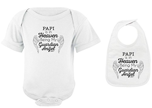 Baby Gifts For All Papi in Heaven Being my Guardian Angel Bodysuit Bib Bundle