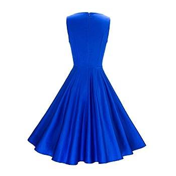 Anni Coco Women's Classy Audrey Hepburn 1950s Vintage Rockabilly Swing Dress blue