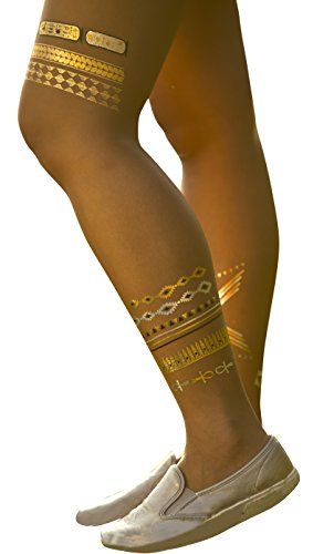 Tattoo Gold Silver Black Metallic Temporary Egyptian Jewelry Tattoo (One Sheet).