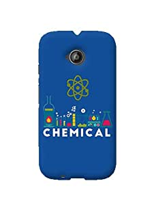 Gobzu Printed Hard Case Back Cover for Moto E2 / Moto E 2nd Generation - Chemical- Blue