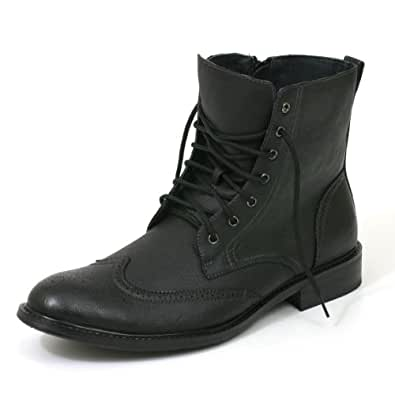 Mens Wingtip Fashion High Ankle Boots Dress Leather Lined Shoes Lace Up with Zipper Great Casual W Jeans or dressed up By Delli Aldo - Runs Big Order 1 full size smaller