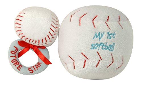 Ultra Soft Plush My First Ball and Plush Rattle Ring Set, Softball